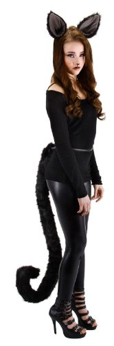Black Kitty Costumes (Elope Kitty Cat Costume Tail Black for Adults and Women)