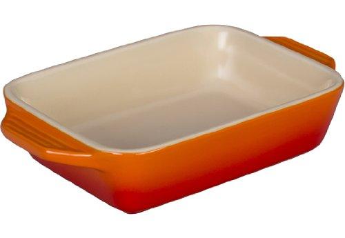 Le Creuset Stoneware Rectangular Dish, 7 by 5-Inch, Flame - Le Creuset Baker Rectangular