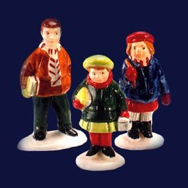 Department 56 Snow Village ''School Children'' Set of 3 Figures #5118-7