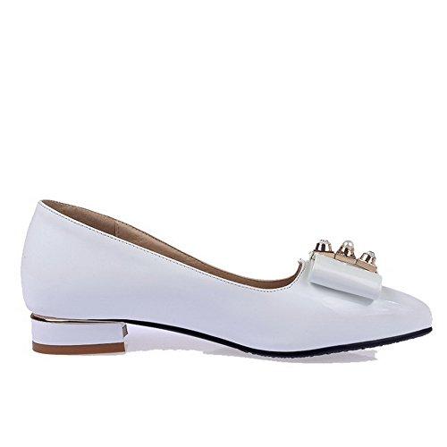 À Légeres Talon Couleur Pointu Femme Bas Blanc Tire Unie Chaussures wqXSBqfE
