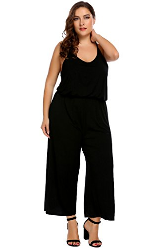 Womens Plus Size Sleeveless Rompers Ladies Summer Beach Casual Playsuit,Black,20W