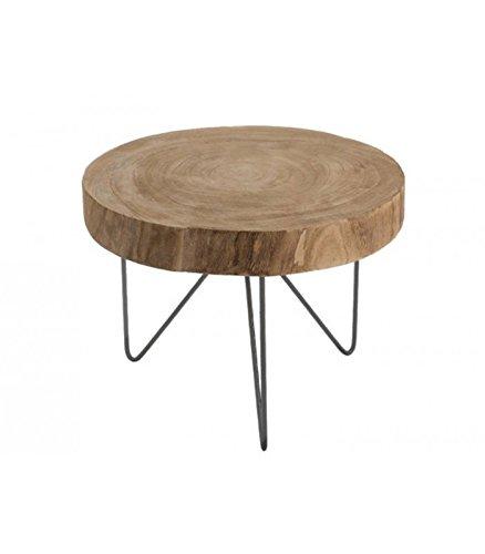Table Basse En Rondin De Bois.Wadiga Table Basse Ronde En Bois Et Metal Diametre 50cm