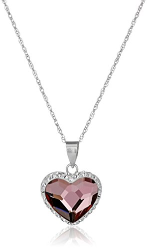 Sterling Silver Swarovski Elements Two Tone Heart Pendant Necklace, Antique Pink, 18