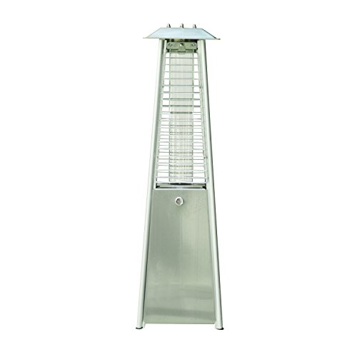 Outsunny 3KW Stainless Steel Outdoor Garden Patio Pyramid Heating Propane Gas Real Flame Heater Warmer Glass Tube with Wheels and Rain Cover - Silver