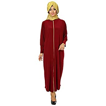 Afili Red Casual Abaya For Women