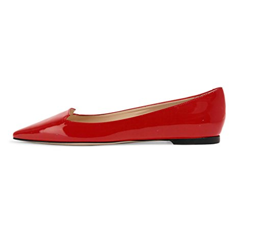 ELASHE Women Flats Pumps | Pointed Toe Ballet Flats | Cut Out Style Classic Flat Pumps Red 3ngVG