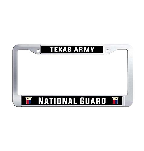 Toanovelty Texas Army National Guard License Plate Frame, Waterproof Car tag Frame, Stainless Steel Car License Plate Holder 6' x 12' in