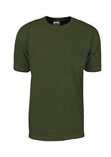 MHS56_L Max Heavy Weight Cotton Short Sleeve T-Shirt Olive (100% Cotton Mens Tee)
