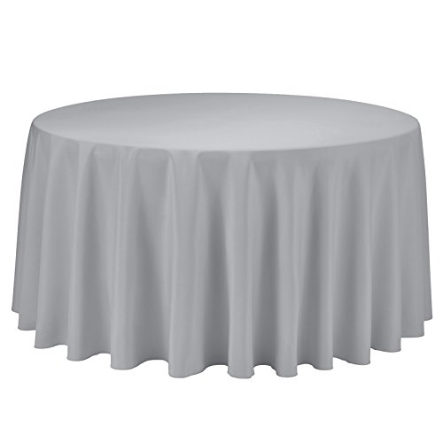 Woven Polyester 108' Round Tablecloth - VEEYOO Round Tablecloth 100% Polyester Circular Bridal Shower Table Cloth - Solid Soft Dinner Table Cover for Wedding Party Restaurant (Silver, 108 inch)