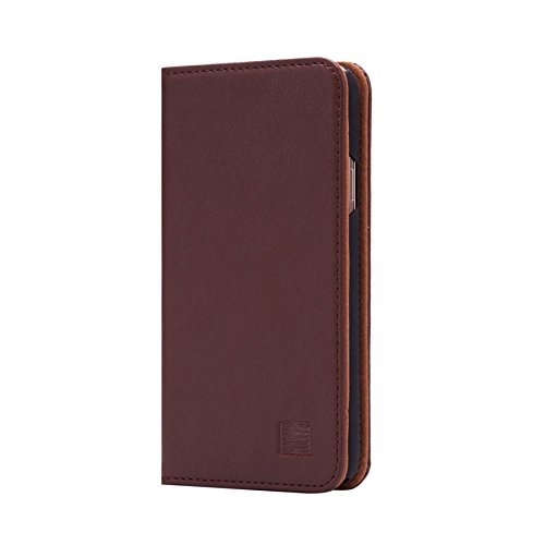 32nd Classic Series - Real Leather Book Wallet Case Cover for Samsung Galaxy S5, Real Leather Design with Card Slot, Magnetic Closure and Built in Stand - Dark Brown (Galaxy S5 Leather Case Brown)