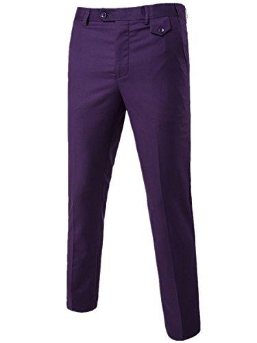 Purple Pinstripe Suit - Cloudstyle Men's Pants Relaxed Flat Front Straight-Fit Suit Dress Pant Purple