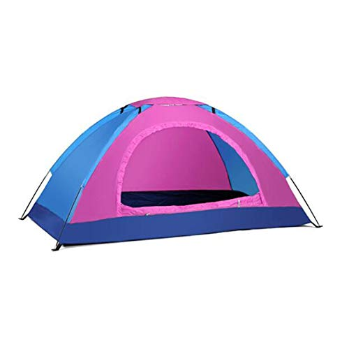 Tent, Outdoor 1-2 Person Windproof and Rainproof Tent, Detachable Breathable Skylight Tent, Blue Rose Red Color