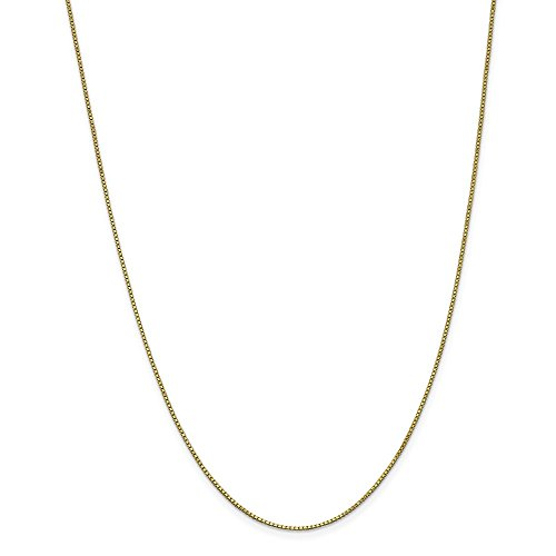 10k Yellow Gold 1mm Link Box Necklace Chain Pendant Charm Fine Jewelry Gifts For Women For Her ()