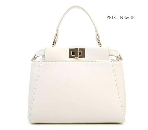 Finest Lovely Crossbody handle Satchel 916 Cow Bag top Italian fashion Golden Women's Shoulder Skin Ivory Tote frqq4wU1