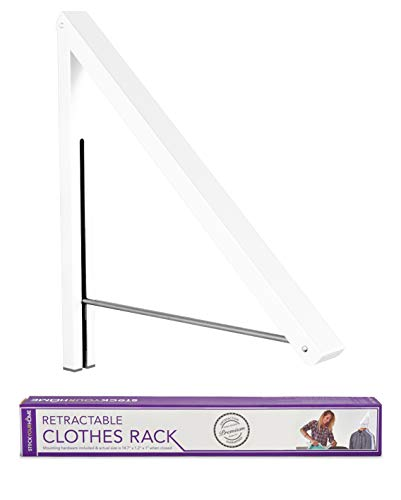 Stock Your Home Folding Clothes Hanger Wall Mounted Retractable Clothes Rack, Aluminum, Easy Installation - White 1 ()
