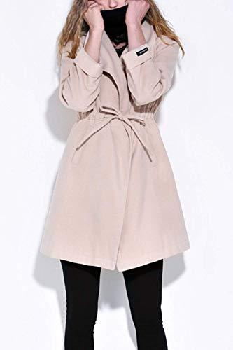lgant Femme D'Extrieur Printemps Cordon Outwear Grande De Loisir Manche Manteau Serrage Costume Long Automne Transition Legere Beige Manches De Taille Vtements Uni Coat EtqxIxWwpH