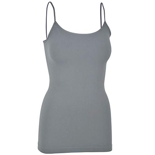 Womens Soft Stretchy Solid Color Essential Spaghetti Strap Long Tank Top Cami Rock Gray