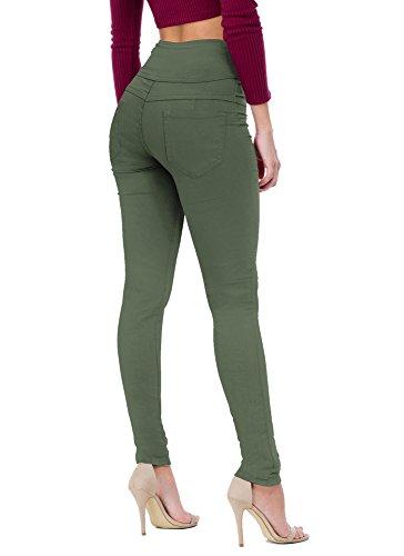 Women's Butt Lift V3 Super Comfy Stretch Denim Jeans P45066SK Olive 7 (Green Olive Denim)
