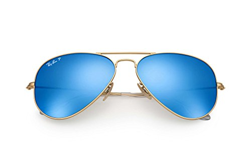 RB3025 112/4L 58 MM Gold, Blue Mirror Polarized lenses - Blue Mirror Rb3025 Ban Ray