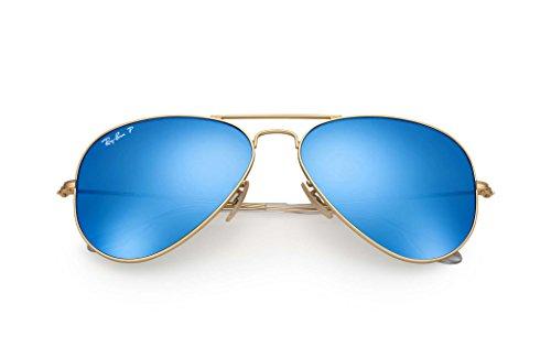 RB3025 112/4L 58 MM Gold, Blue Mirror Polarized lenses - 4 Ban Ray