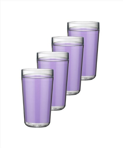 Kraftware Double Wall Insulated 24-Ounce Acrylic Drinkware, Lavender, Set of 4