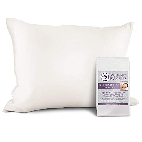 100% Pure 19 Momme Mulberry Silk Pillowcase on Both Sides, Hypoallergenic Soft Breathable for Improved Sleep Hair and Skin, Envelope (no Zipper!) Closure, 600 Thread Count, Oeko-TEX - White, King