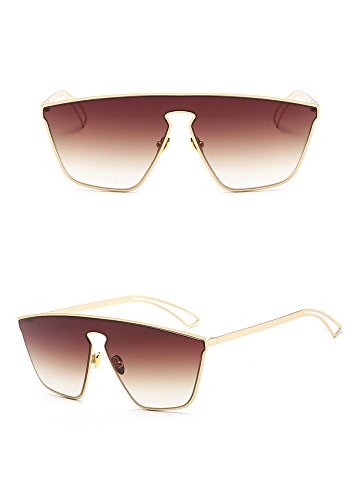 Gafas RFVBNM Sol Hombre gradiente Negra Té de Acero Sol Gafas sol marco Hielo de Color Gafas Lentes de de de Siamés Azul de Brillante de para Arena Tendencia Moda dorado Inoxidable Caja dqcrH1qxn