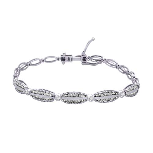 10K Solid Gold Round & Baguette Shape Natural Diamond Cluster Style Bracelet (0.93 Ct) (white-gold)