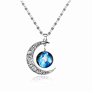 Valentines Day Gift Galaxy Necklace Christmas Gifts Crescent Star Galactic Cosmic Moon Charm Crystal Necklaces