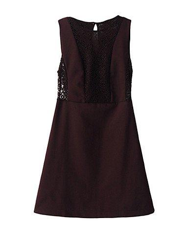 PU&PU Robe Aux femmes Gaine Simple,Mosaïque Col Arrondi Au dessus du genou Polyester , black-s , black-s
