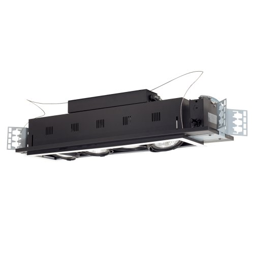 Jesco Lighting MGP30-4SB Modulinear Directional Lighting For New Construction, Double Gimbal PAR30 4-Light Linear, Black Interior With Silver Trim