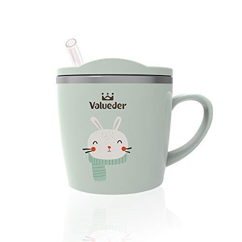 Baby Cute Mug Cup with Lid, 7oz Anti Scald Stainless Steel Cup with Lid for Kids by VALUEDER (Light Green)