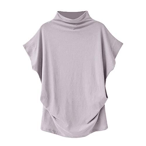 (Sunhusing Women Loose Turtleneck Short Sleeve Cotton Blend Solid Color Casual Blouse Top Plus Size T Shirt Light)