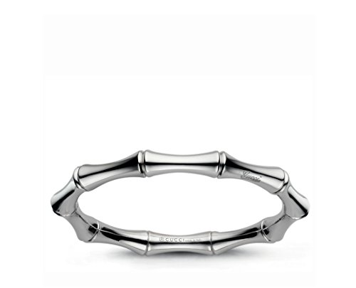 Gucci 18k White Gold bangle Bamboo collection. Size is 17mm. - YBA246463001 (Gucci White Bracelet)