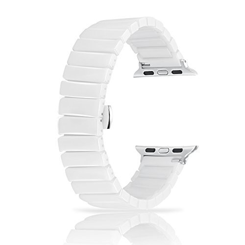 Ceramic Bands for Apple Watch 42mm, YOUKEX Luxury Ceramic Bracelet Replacement Wristband with Butterfly Buckle for iWatch Series 3/2/1 Women Men (White ()