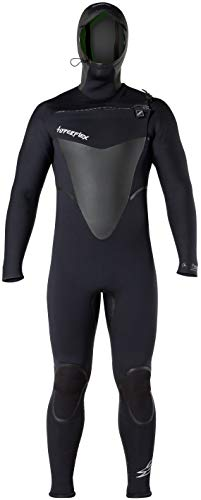 Hyperflex Wetsuits Men's Voodoo 6/5/4mm Hooded Front Zip Fullsuit, Black, L - Surfing, Windsurfing & Kiteboarding