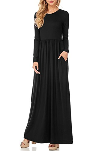 Robe Manches Longues Femmes Yming Vadrouille Extensible Noir Taille Flexible Long