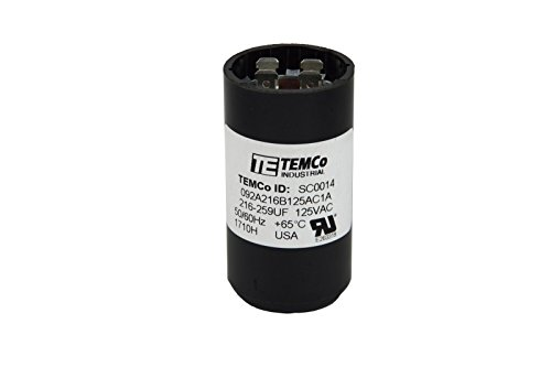 TEMCo Motor Start Capacitor SC0014-216-259 mfd 110-125 V VAC Volt uf Round HVAC AC Electric
