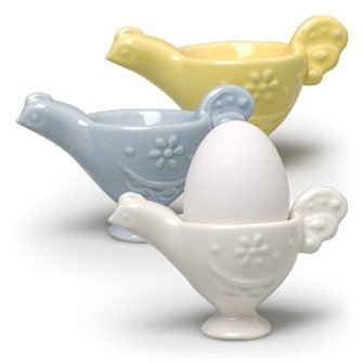 Chicken Ceramic Egg Cups - Blue, Yellow, White - Set of 3