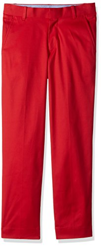 Tommy Hilfiger Boy's Big Flat Front Twill Dress Pant, Cherry Popsicle, 18
