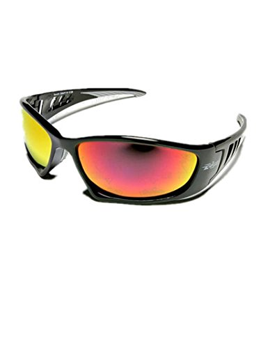 2b161a322f Edge Eyewear Sbap119 Baretti Safety Glasses - Black W  Aqua Red Mirror Lens(Sold  By 2 Pack) - - Amazon.com