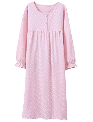 BOOPH Girls' Princess Nightgown, Baby Toddler Hearts Sleepwear Long Sleeve Nightwear Dress Pink 7-8 Year Old