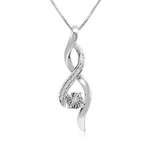 Sterling Silver Diamond Solitaire Infinity Pendant-Necklace (18 in. Box Chain)