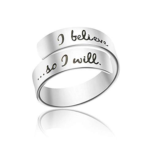 (HIIXHC Inspirational Gifts Women Cuff Bracelet Bangle Stainless Steel EngravedJewelry Gifts with Sayings & Words for Women, Teen Girls (I Believe i can. so i Will Ring))