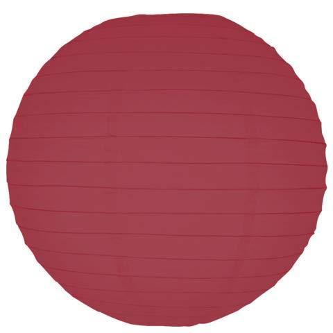 Burgundy Round Paper Lanterns-12 - Lanterns Rice Eyelet Paper