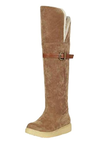 Maybest Women Buckle Suede Two Wear Folded Cotton Padded Snow Boots ( Brown 9 B (M) US ) (Womens Disco Sensation Dress)