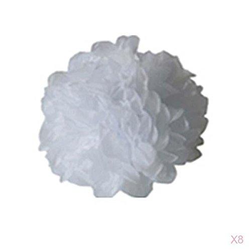 Lot de 8pcs Pompons Boule de Fleur en Papier de Soie DIY Décoration de Noël Mariage Fête (Blanc, 38cm) Générique