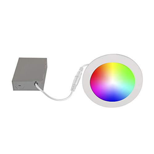 Bazz SLDSK6RGBTNWWF Slim Disk Smart Home Wi-Fi RGB LED Recessed Fixture Kit, Tunable, Dimmable, Alexa and Google…