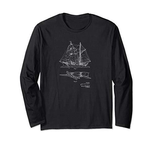 Model Sailing Ship Vintage Patent Drawing Funny Novelty Tee