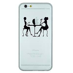 GX dos niñas chatear y beber café pattern pc caso de la cubierta trasera transparente duro para el iPhone 6 Plus